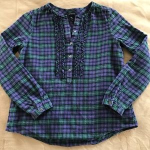 Lands End Long Sleeve Plaid Flannel Ruffle Henley
